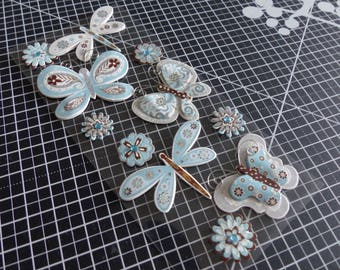 3D stickers with butterflies, flowers and dragonflies material effect
