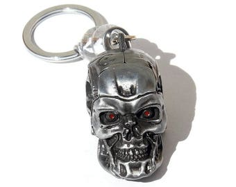 "Keychain featuring the Terminator head embellished with two transparent glass rondelles: ""The Terminator"""