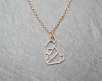 So origami - gold rabbit pendant necklace