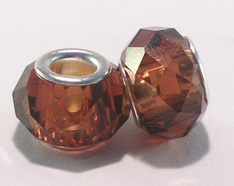 Faceted glass and silver metal Brown transparent (43F) European bead