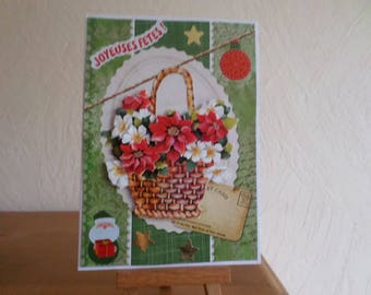 greeting card with basket of flowers and red ball