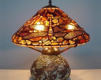 Tiffany Amber Lamp 16'', Tiffany Desk Lamp, Tiffany Lamp, Desk Lamp, Lamp, Stained Glass Lamp, Baltic Amber