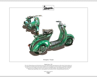 DOUGLAS VESPA Scooter Fine Art Print - Produced in Britain from 1951 - Rod Model