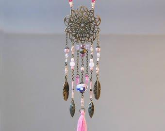 Long bohemian necklace dreamcatcher 'Vie en rose'