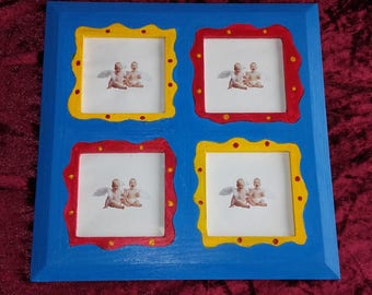 Tri-color square for four colorful photo frame