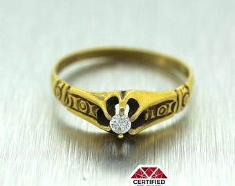 1880s Antique Victorian Etched 14k Yellow Gold 0.05ct Old Mine Diamond Ring