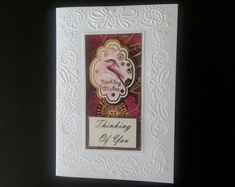 Pink bird birthday greeting card blank inside