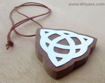 Celtic TRIQUETRA symbol in wood and metal amulet