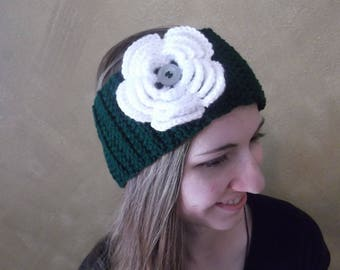 Crochet Headband with Flower - Eagles Colors