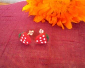 Kids Stud Earrings Strawberry wood