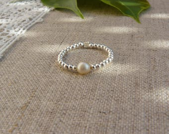 Ring 925 sterling silver beads and Freshwater Pearl