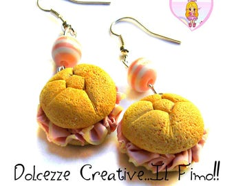 Rosette earrings with ham - Sandwich handmade gift idea