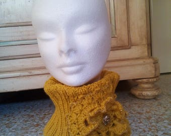 neck warmer wool neck scarf with crochet flower with great relief