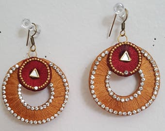 Yellow with Maroon silk threaded earring