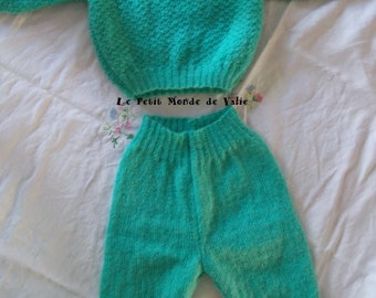 Set 6 month sweater + green water color pants