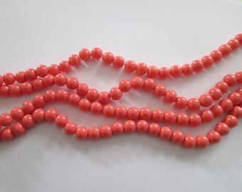 8 mm 20 perles rondes en verre rose pêche diamètre 8 mm