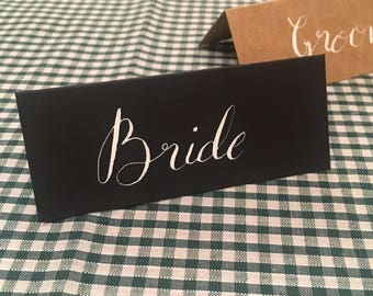 Modern calligraphy tent place cards