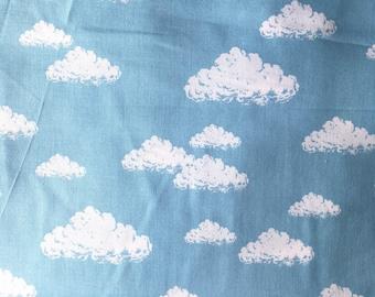 COUPON 1.60 m-50% Poplin cotton Japanese quality - Blue cloud