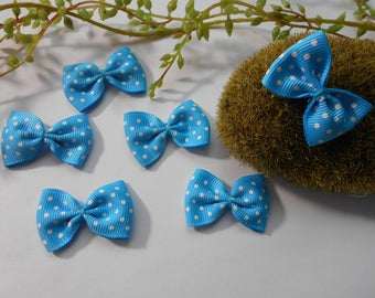 6 turquoise and white polka - dot bow - 4cm / 2.5 cm