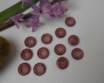 12 Garnet buttons with iridescent and 17mm