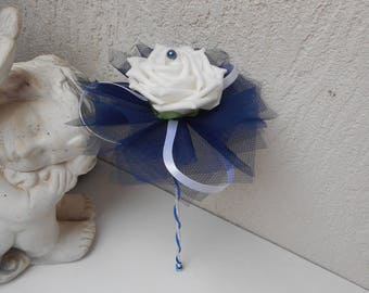 Bridesmaid bouquet - bouquet wand Navy Blue and white