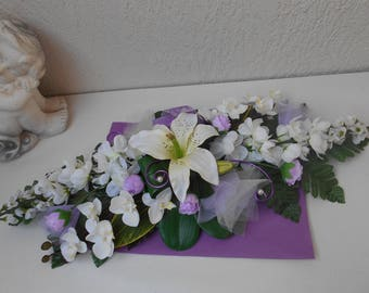 Honor - purple and ivory table centrepiece