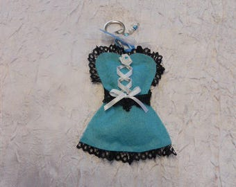 Key corset color blue / black and white themed corset