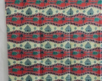 Pink and multicolor cotton African fabric. 90 cm x 112 cm