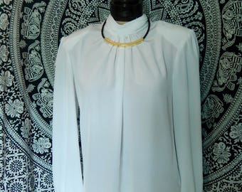 Vintage 80s high collar blouse, Helene St. Marie, size 10, long sleeved with button wrists and neckline.