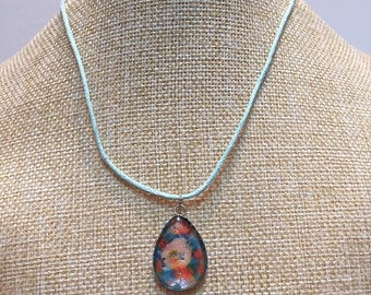 Blue-orange oval cabochon necklace