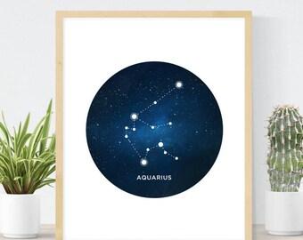 Aquarius Constellation | Astrology Poster | Constellation Art Print | Aquarius Birthday Gift | Aquarius Star Sign  | Zodiac Wall Art