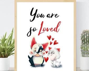 You Are So Loved | Cute Valentine Boston Terrier | Valentines Day Printable | Boston Terrier Art | Kids Valentine | Instant Valentine Gift