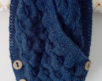 Handknitted  airforce blue cowl neckwarmer scarf with buttons - nice gift - FREE UK P&P