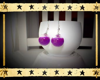 Violet purple color opaque liquid filled glass globe mounted on earring