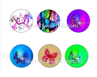 50 digital picture for glass cabochon to print, 25mm, 20mm, 18x25mm, 12mm, butterfly, jewelry making