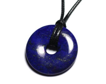 Necklace pendant gemstone - Lapis Lazuli Donut Pi 30mm