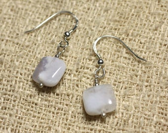 925 Sterling Silver earrings - Square blue chalcedony 10mm