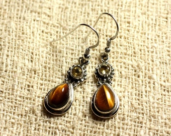 BO206 - 925 Silver 23mm Silver earrings - Tiger eye and Citrine