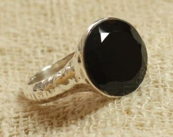 N120 - Ring 925 sterling silver and semi precious - Onyx Black faceted 15 mm
