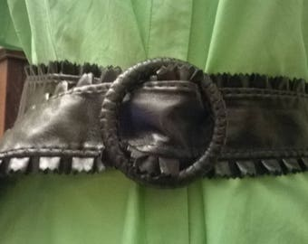 Faux black leather belt