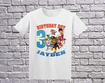 Custom Paw Patrol Shirt, Paw Patrol Birthday Shirt, Personalized Paw Patrol Apparel, Paw Patrol Name Age, Paw Patrol Birthday Theme Party