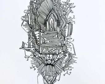 Overgrown Cathedral - Original Pen and Ink Drawing