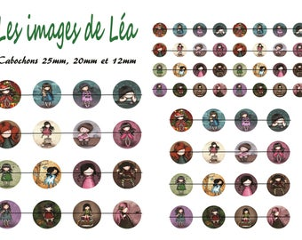 Little girls 1: print of digital images for cabochons 25mm, 20mm and 12mm