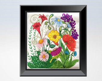Whimsical Flowers Square