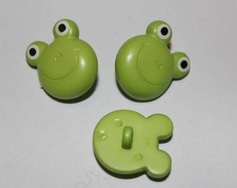 Supply sewing notions fancy patterned kids Green Frog button