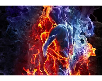 Fire & Ice: Opposites Attract - Surreal Fantasy Print - Fantasy Poster - Fantasy Artwork