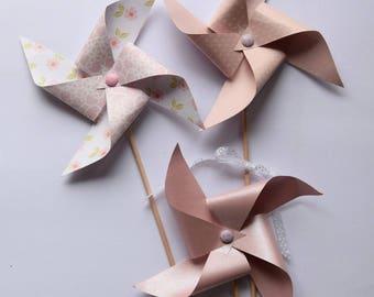 Pink 3 pinwheels and dusty rose shabby chic style - nursery decor, baptism, baby shower, birthday, wedding