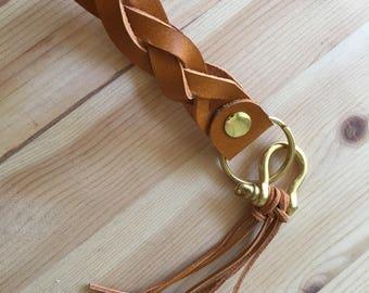 Orange Handmade Braided Leather Keychain With  Tassel