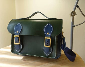 Navy blue x dark green hand made hand stitched leather messenger bag, Cambridge bag, cross body bag, Cambridge satchel, veg leather