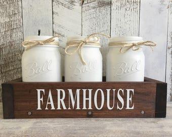 Farmhouse Mason Jar Centerpiece/Centerpiece Box/Mason Jar Utensil Holder/Wood Table Box/Wood Box Centerpiece/Farmhouse Kitchen Decor